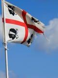 sardinia Gammal flagga som ska spolas Royaltyfria Bilder