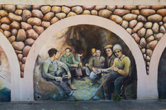 Sardinia. Iglesias. Bindua. Miners inside a metalliferous mine of lead and zinc. Celebratory mural painting cycle of the mine workers Royalty Free Stock Image