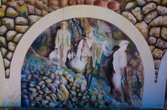 Sardinia. Iglesias. Bindua. Miners inside a metalliferous mine of lead and zinc. Celebratory mural painting cycle of the mine workers Stock Photography