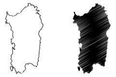 Sardinia island map vector Royalty Free Stock Photography