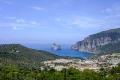 Sardinia, italy, europe, ex mine masua and faraglione sugar loaf Stock Photography