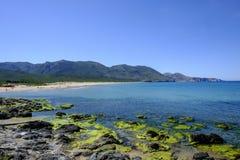 Sardinia, italy, europe, the south west coast, beach san nicolò. View san nicolò beach in the south west coast of sardinia royalty free stock photography