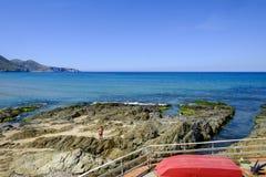 Sardinia, italy, europe, the south west coast, beach san nicolò. View san nicolò beach in the south west coast of sardinia royalty free stock image