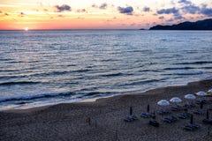 Sardinia, italy, europe, the south west coast, beach san nicolò. View san nicolò beach at sunset in the south west coast of sardinia stock photography