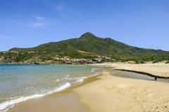 Sardinia, italy, europe, the south west coast, beach san nicolò. View san nicolò beach in the south west coast of sardinia with the village of portixeddu stock images