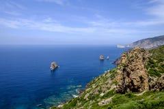 Sardinia, italy europe, south west coast, the faraglioni. View of the faraglioni on the south western coast of sardinia royalty free stock image