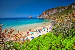 Spaggia di Masua beach and Pan di Zucchero, Costa Verde,  Sardinia, Italy. SARDINIA, ITALY - July 2017 - Spaggia di Masua beach and Pan di Zucchero, Costa Verde Stock Images