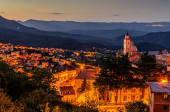 Sardinia, Italy: Mountain town Lanusei in the sunset Royalty Free Stock Images