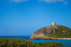 Sardinia Italy Torre de Chia creek with blue sky Royalty Free Stock Images