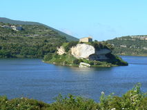 Sardinia landscape. Scenery with lake Royalty Free Stock Image