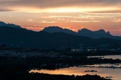 SARDINIA LANDSCAPE GULF OF MARINELLA AT SUNSET SARDEGNA. ITALY SARDINIA LANDSCAPE GULF OF MARINELLA SARDEGNA royalty free stock image