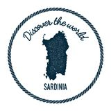 Sardinia map in vintage discover the world. Royalty Free Stock Photo
