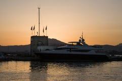 Sardinia Marina Di Olbia schronienie przy zmierzchem Obraz Royalty Free