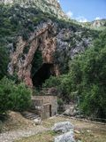Sardinia. Natural monuments. Caves of San Giovanni, near Domusnovas in Iglesiente region. Southern entrance. Sardinia. Natural monuments. Caves of San Giovanni stock photos