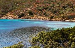 Sardinia plaża z błękitnym i bławym morzem, biały piasek, raj Zdjęcie Stock