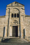 Sardinia. Santa Giusta. The medieval Cathedral of Santa Giusta, minor basilica of the 12th century in Sardinian Romanesque style, built over high ground in the Royalty Free Stock Images