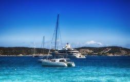 Sardinia sea  landscape PEVERO WITH YACHT. Italy sardinia sea landscape pevero with yacht Stock Photography