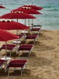 Sardinia sea red umbrella Stock Photo