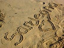 Sardinia sea sardegna. Sardinia sea writing sardegna on the beach stock images