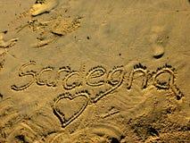 Sardinia sea sardegna. Sardinia sea writing sardegna on the beach royalty free stock photography