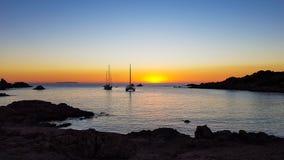 Sardinia solnedgång Arkivbilder