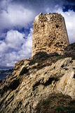 Sardinia. Teulada. The ancient coastal tower in Capo Malfatano (Cape Malfatano), in southern Sardinia, erected during the Spanish kingdom at the end of the 16th Stock Photography