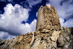Sardinia. Teulada. The ancient coastal tower in Capo Malfatano (Cape Malfatano), in southern Sardinia, erected during the Spanish kingdom at the end of the 16th Stock Photo