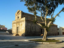 Sardinia. Tratalias. Old village. View with the pisan romanesqe cathedral of Santa Maria di Monserrat, 13th century Royalty Free Stock Photography