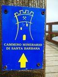 Sardinia. Tourism. Trekking. Signal of the Cammino Minerario di Santa Barbara,  in the south west Sardinia. This route dedicated to the patron saint of miners Royalty Free Stock Image