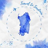 Sardinia watercolor island map in blue colors. Travel to Sardinia poster with airplane trace and handpainted watercolor map on crumpled paper. Vector Royalty Free Stock Images