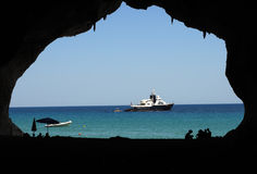 Sardinia: a window into the blue. Sea views from inside a cave on the east coast of Sardinia Stock Image