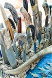 Sardinian Artigianal Knives. Artigianal Sardinian knives with handle in horn bone, built by craftsman cutler stock photo