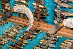 Sardinian Artigianal Knives. Artigianal Sardinian knives with handle in horn bone, built by craftsman cutler stock image