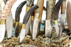 Sardinian Artigianal Knives. Artigianal Sardinian knives with handle in horn bone, built by craftsman cutler royalty free stock images