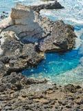 Sardinian cliffs. Curious rock on the beach of Western Sardinia Royalty Free Stock Images