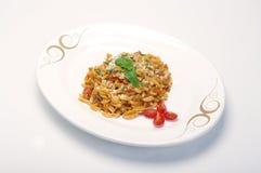 Sardinian gnocchi. On  white oval dish Stock Image