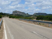 Sardinian landscape. Road crossing the Sardinian landscape Stock Photography