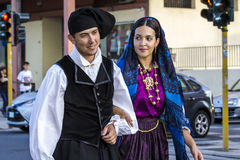 Sardinian looks and traditions. QUARTU S.E., ITALY - SEPTEMBER 17, 2016: Parade of Sardinian costumes and wagons for the grape festival in honor of Sant`Elena Stock Photos