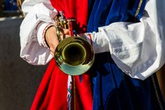 Sardinian music and traditions. CAGLIARI, ITALY - OCTOBER 28, 2017: Invitas, Sardinia of traditions, exhibitions and food at the Sanctuary Pier. Neighborhoods Stock Photography