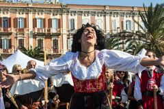 Sardinian music and traditions. CAGLIARI, ITALY - OCTOBER 28, 2017: Invitas, Sardinia of traditions, exhibitions and food, at the Molo Sanit Royalty Free Stock Images