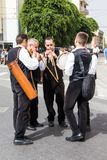 Sardinian music and traditions. QUARTU S.E., ITALY - SEPTEMBER 21, 2014: Parade of Sardinian costumes and carts for the grape festival in honor of the Stock Photo