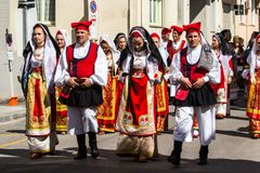 Sardinian traditional costumes Royalty Free Stock Images