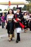 Sardinian traditional costumes. MURAVERA, ITALY - APRIL 2, 2017: 45 Citrus Festival - parade of the Don Milani folk group of Dorgali - Sardinia Stock Images