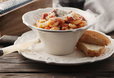 Sardinian traditional pasta malloreddus with sausage Stock Images