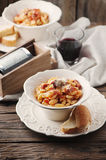 Sardinian traditional pasta malloreddus with sausage Royalty Free Stock Images