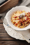 Sardinian traditional pasta malloreddus with sausage Stock Photos