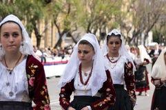 Sardinian typiska dräkter Arkivfoto