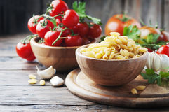 Sardinian uncooked pasta on the wooden table Stock Photography
