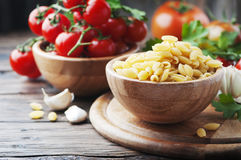 Sardinian uncooked pasta on the wooden table Royalty Free Stock Image