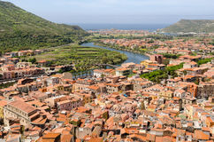 Sardinige, Bosa-dorp Stock Afbeeldingen